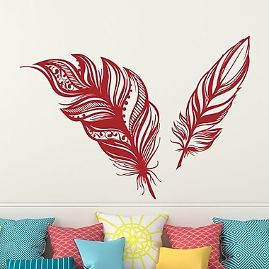 Decal House Feathers Plume Wall Decal; Red