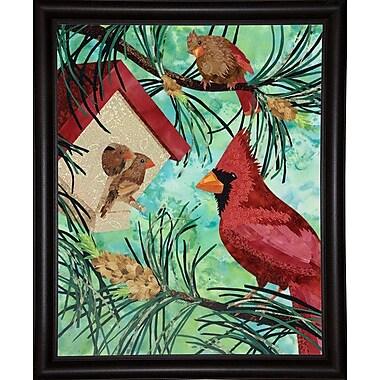 Winston Porter 'Cardinals and Birdhouse' Print; Bistro Expresso Framed Paper
