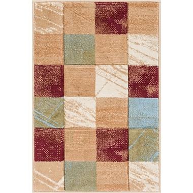 Winston Porter Atherton Modern Power Loom Geometric Squares Red Area Rug; 3'3'' x 5'
