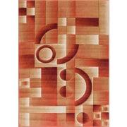 Winston Porter Atherton Modern Geometric Squares Orange Area Rug; 2' x 3'