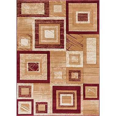 Winston Porter Atherton Modern Stain Resistant Geometric Squares Red Area Rug; 7'10'' x 9'10''