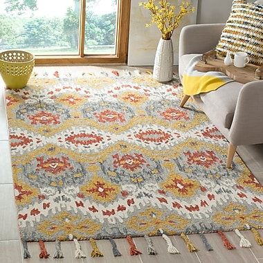 Bungalow Rose Niederanven Hand Tufted Wool Gray Area Rug; 5' x 8'