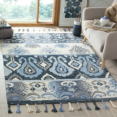 Bungalow Rose Niederanven Hand Knotted Wool Blue Area Rug; 5' x 8'