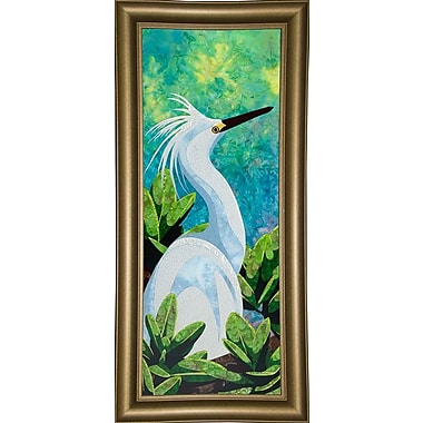 Bay Isle Home 'Snowy Egret' Print; Bistro Gold Framed Paper