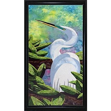 Bay Isle Home 'Great Egret' Print; Flat Back Metal Framed