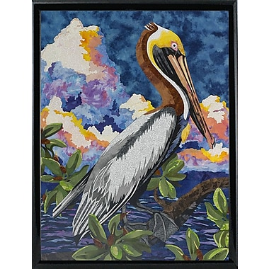 Bay Isle Home 'Pelican' Print; Shiny Black Metal Framed