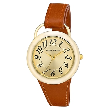 Laura Ashley Ladies Tan Band Sunray Dial Sterrup Case Push Pin Closure Watch (LA31030YG)