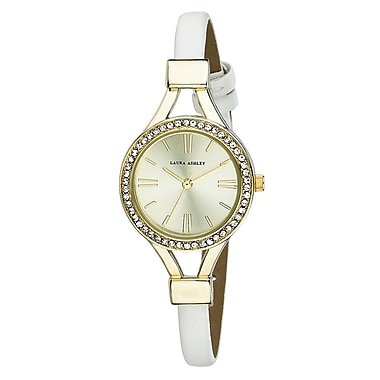 Laura Ashley Ladies Thin Strap Case Crystal Bezel Watch
