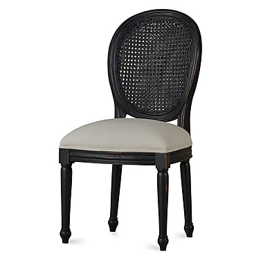 Bramble Co Mary Tudor Rattan Back Dining Chair (Set of 2); Black Harvest