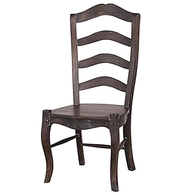 Bramble Co Steven Shell Ladder Back Dining Chair w/ Wood Seat (Set of 2); Cocoa