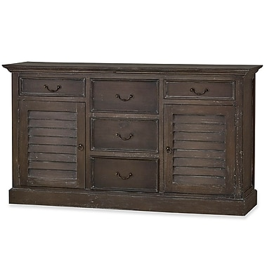 Bramble Co Shutter 5 Drawer Accent Chest; Brown Suede