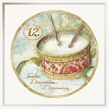 East Urban Home '12 Days of Christmas XII Round' Framed Graphic Art Print; 18'' H x 18'' W