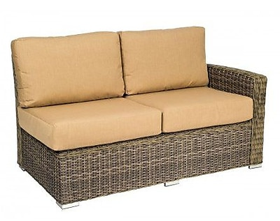 Woodard Bay Shore Right Arm Loveseat Sectional Piece w/ Cushions; Canvas Heather Beige