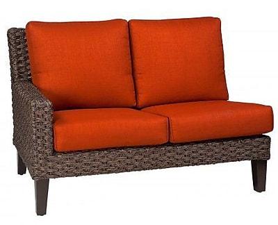 Woodard Mona Left Arm Facing Loveseat Sectional Piece w/ Cushions; Brisa Distressed Chamois