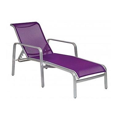 Woodard Landings Sling Adjustable Chaise Lounge; Augustine Gravel