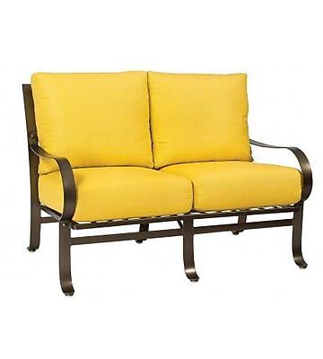 Woodard Cascade Loveseat w/ Cushions; Brisa Distressed Charcoal