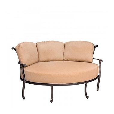 Woodard New Orleans Crescent Cuddle Patio Chair w/ Cushions; Paris Honeydew