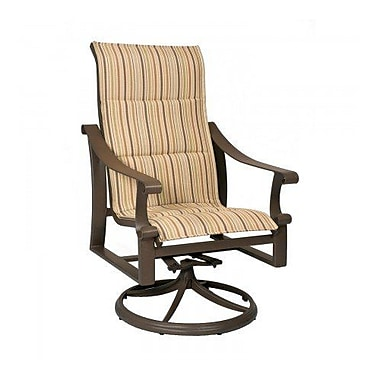 Woodard Bungalow Padded Sling High-Back Swivel Rocking Chair; Augustine Gravel