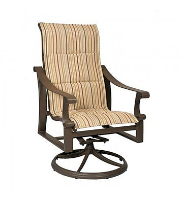 Woodard Bungalow Padded Sling High-Back Swivel Rocking Chair; Augustine Alloy