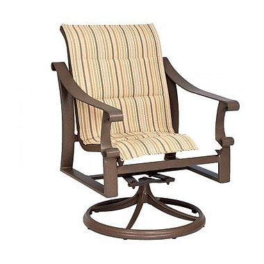 Woodard Bungalow Padded Sling Swivel Rocking Chair; Augustine Alloy