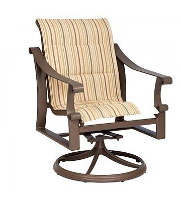 Woodard Bungalow Padded Sling Swivel Rocking Chair; Augustine Nutmeg