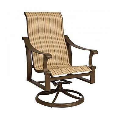 Woodard Bungalow Sling High-Back Swivel Rocking Chair; Augustine Gravel