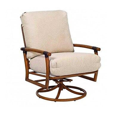 Woodard Glade Isle Swivel Rocking Patio Chair w/ Cushions; Bevel Indigo