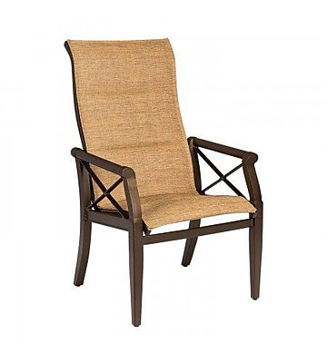 Woodard Andover Padded Sling High-Back Patio Dining Chair; Augustine Nutmeg