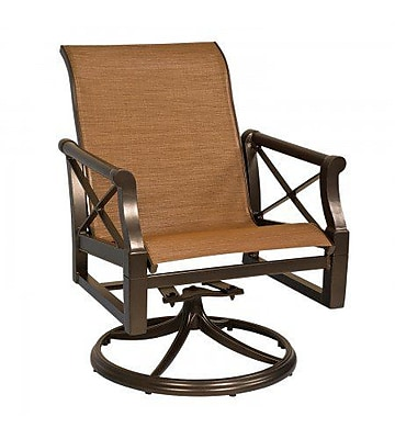 Woodard Andover Sling Rocker Swivel Patio Dining Chair; Tin Ceiling