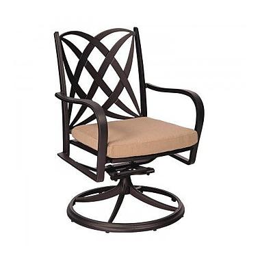 Woodard Apollo Rocker Swivel Patio Dining Chair w/ Cushion; Fairmount