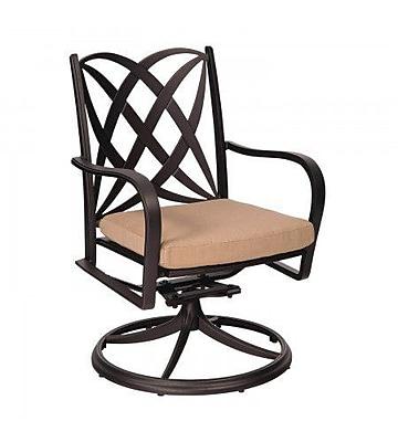 Woodard Apollo Rocker Swivel Patio Dining Chair w/ Cushion; Bevel Indigo