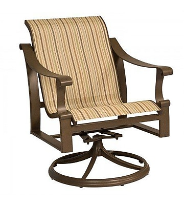 Woodard Bungalow Sling Swivel Rocking Chair; Garnet Flex Sling