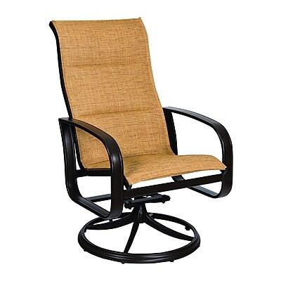 Woodard Cayman Isle Padded Sling High-Back Swivel Rocking Chair; Sailing Salt