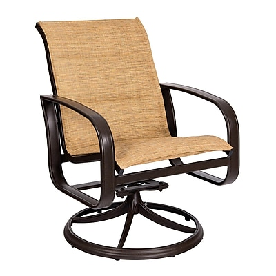 Woodard Cayman Isle Padded Sling Swivel Rocking Chair; Augustine Gravel