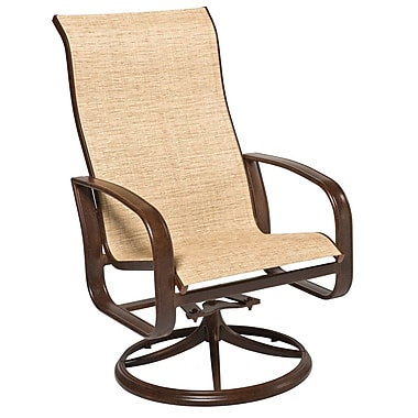 Woodard Cayman Isle Sling High-Back Swivel Rocking Chair; Augustine Gravel