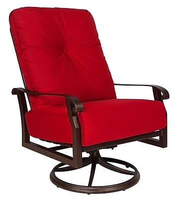 Woodard Cortland Extra Large Swivel Rocking Chair w/ Cushions; Canvas Bird's Eye