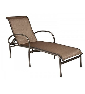 Woodard Rivington Sling Adjustable Stacking Chaise Lounge; Augustine Nutmeg