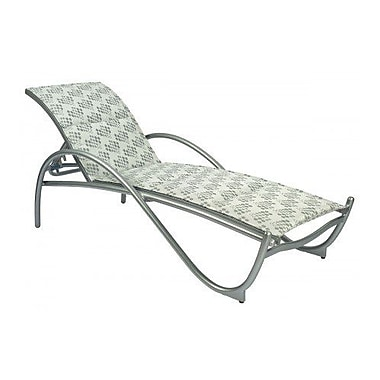 Woodard Tribeca Padded Adjustable Stacking Chaise Lounge; Sailing Salt