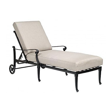 Woodard Wiltshire Adjustable Chaise Lounge w/ Cushion; Brisa Distressed Chamois