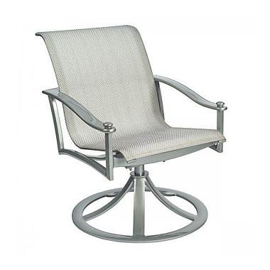 Woodard Nob Hill Sling Rocking Swivel Patio Dining Chair; Platinum