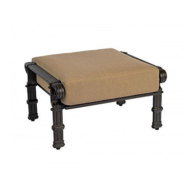 Woodard Spartan Ottoman w/ Cushion; Brisa Distressed Charcoal