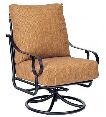 Woodard Ridgecrest Extra Large Swivel Rocking Chair w/ Cushions; Bazaar Caf