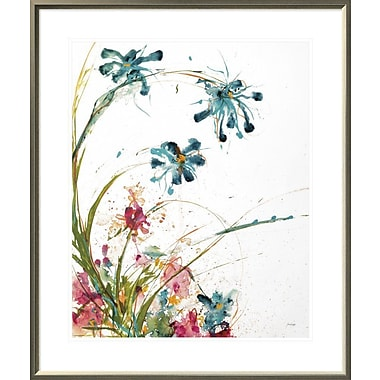 East Urban Home 'Blooming Blue Crop on White' Framed Print; 28'' H x 22'' W