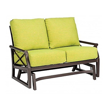 Woodard Andover Gliding Loveseat w/ Cushions; Brisa Distressed Charcoal