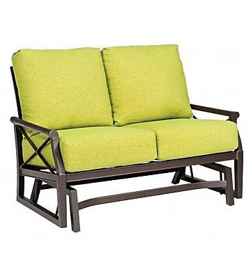 Woodard Andover Gliding Loveseat w/ Cushions; Bazaar Caf