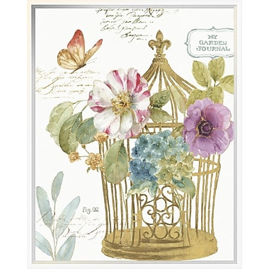 East Urban Home 'Rainbow Seeds Romantic Birdcage I' Framed Graphic Art Print; 24'' H x 20'' W