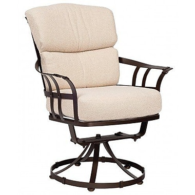Woodard Atlas Swivel Patio Dining Chair w/ Cushion; Canvas Parrot