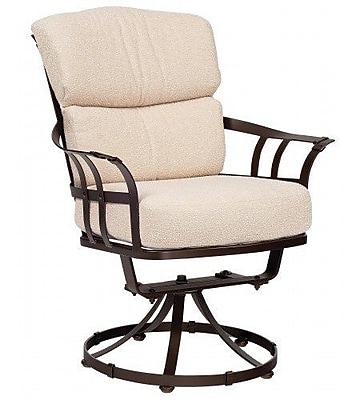 Woodard Atlas Swivel Patio Dining Chair w/ Cushion; Axel Smoke