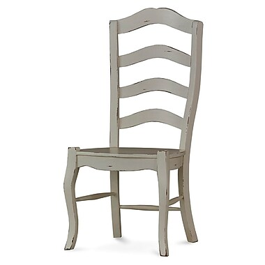 Bramble Co Steven Shell Ladder Back Dining Chair w/ Wood Seat (Set of 2); White Harvest