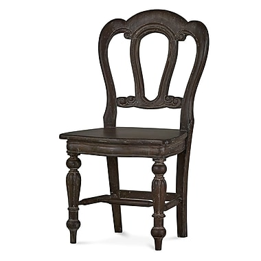 Bramble Co Homestead Napoleon Dining Chair w/ Carving on Back (Set of 2); Cocoa